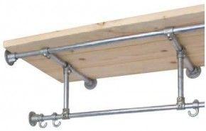 Maak deze kapstok zelf van steigerbuizen en steigerhout voor de legplank.