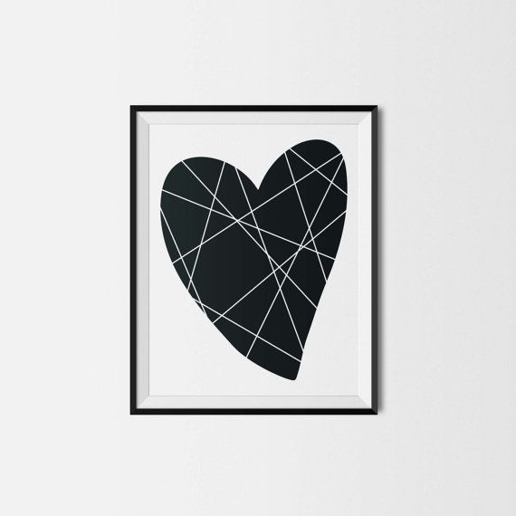 Illustration - Pour impression immédiate - COEUR - 8x10 - Chambre de bébé - enfant - Amour - Nursery wall decor - Instant download