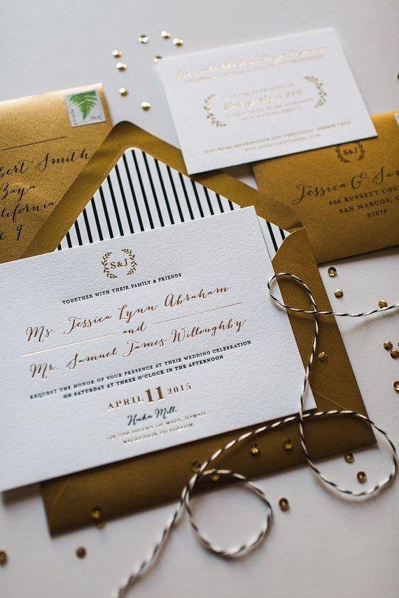 Gold Foil Letterpress Wedding Invitation by WideEyesPaperCo