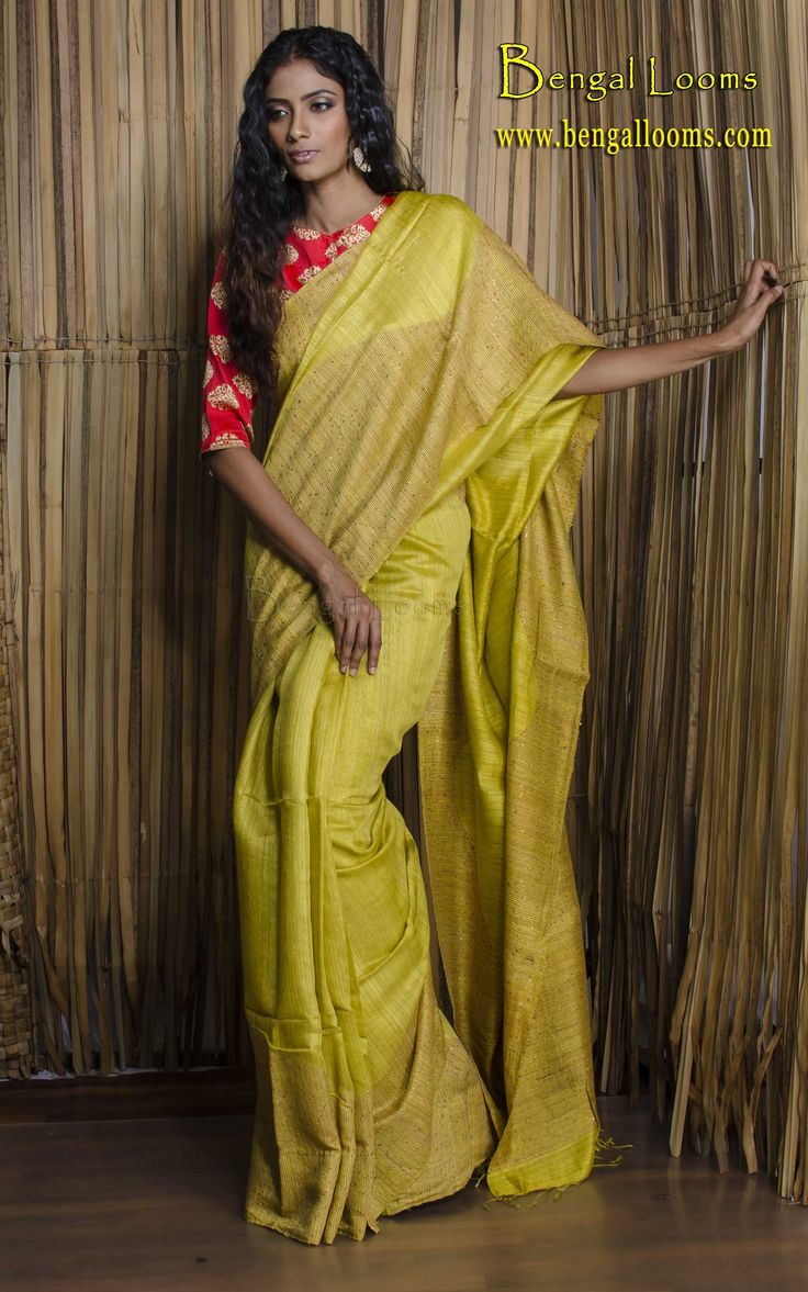 Handwoven Matka Silk Saree in Olive Green with Sequin Work