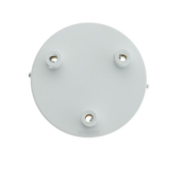 A white 3 port ceiling canopy that can be used to convert pendant light cord sets or DIY pendant light cord for hardwiring.