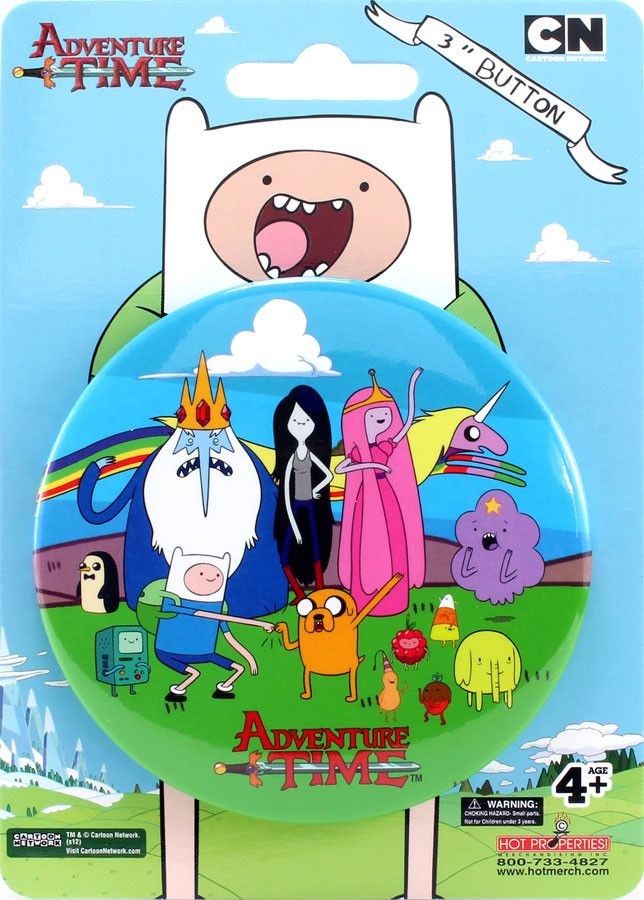 """Adventure Time Characters 3"""" Button"""