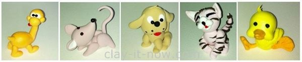 animal figurines in air dry clay suitable for cup ake topper, theme cake decorations and collections.