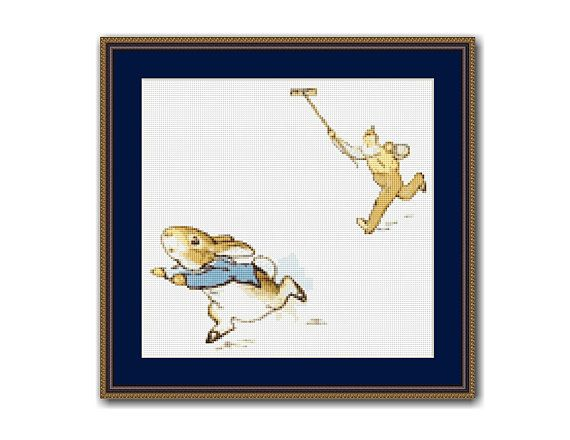 "The Tale Of Peter Rabbit #10 Cross Stitch Pattern / Chart, Beatrix Potter, ""Stop Thief!!"", Instant Digital Download (TPR010)"