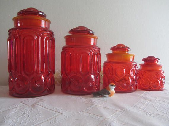 Smith Glass Moon and Star Pattern Amberina Flare Canisters All