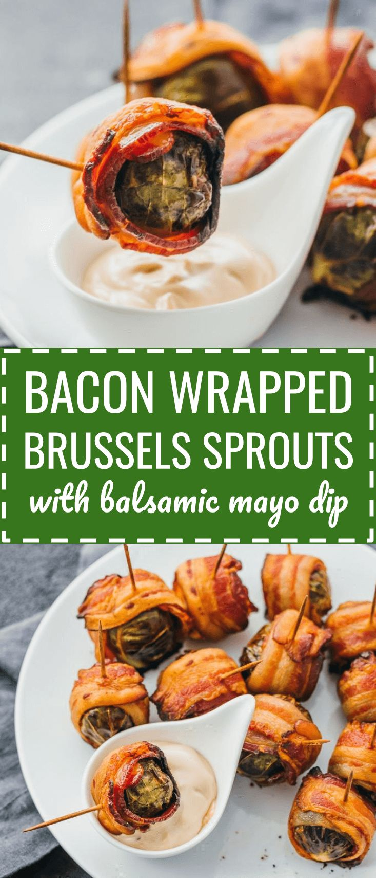 Bacon wrapped brussels sprouts with balsamic mayo dip. My favorite fall appetizers -- roasted brussels sprouts wrapped with crispy bacon slices and dipped in a balsamic vinegar and mayonnaise sauce. thanksgiving recipes / dairy free / food / roasted / oven / skewers / baked / crispy / skillet / creamy / easy / paleo / recipes / whole 30 / kabobs / gluten free / thanksgiving sides / foods / balsamic vinegar / dinners / keto / low carb / healthy / induction / meals / recipes #keto...