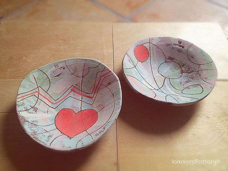 New deep plates. Hand built from brown clay. Coloured slip, abstract brushstrokes, inlay geometry, l❤️ve!! Ready for the first firing.