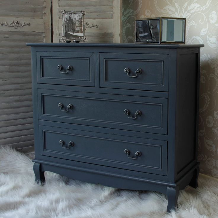 Anastasia range dark grey four drawer chest new for Dark grey furniture paint