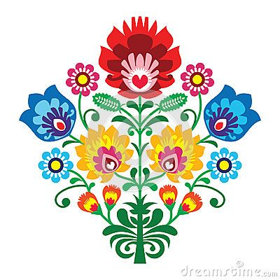 Folk embroidery with flowers - traditional polish pattern by Agnieszka Bernacka, via Dreamstime