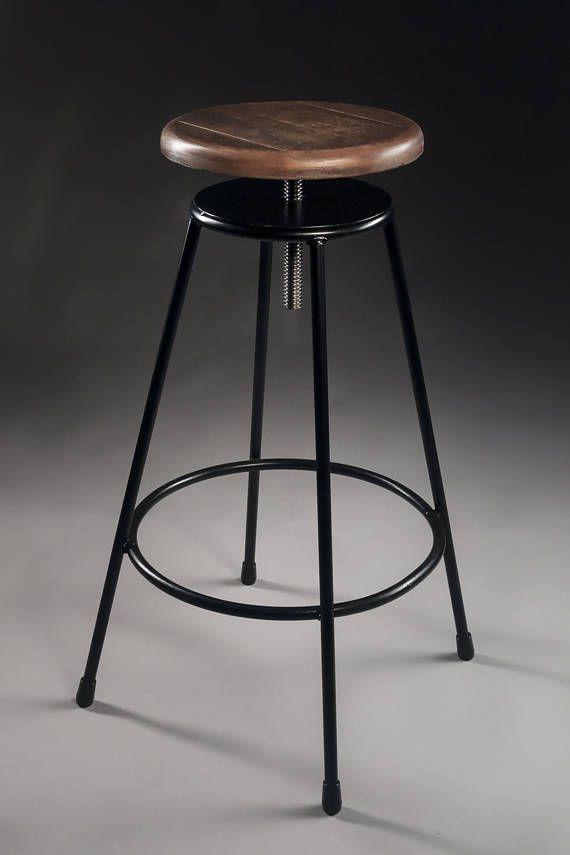 Industrial Bar Stool Maple Wood Seat Reclaimed Wood Restaurant