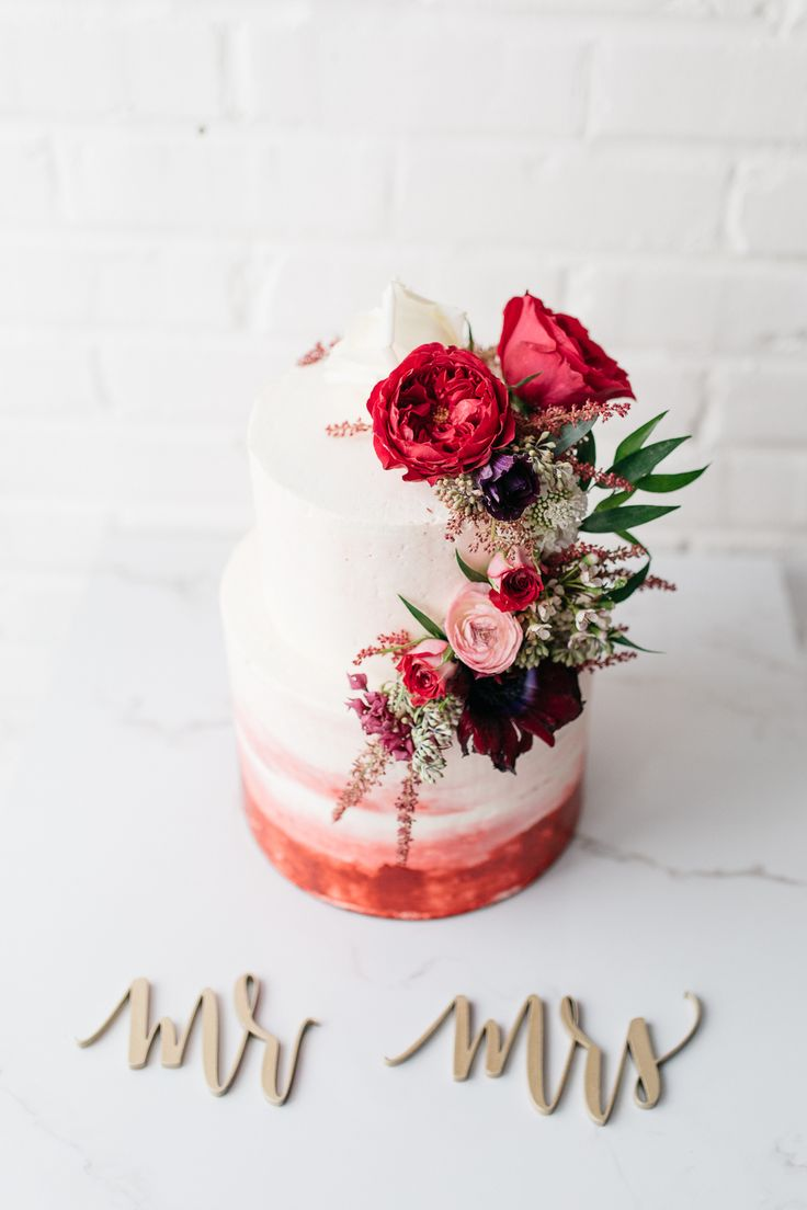 romantic ombre wedding cakes - photo by Casie Marie Photography http://ruffledblog.com/valentines-day-wedding-inspiration-with-handcrafted-elements