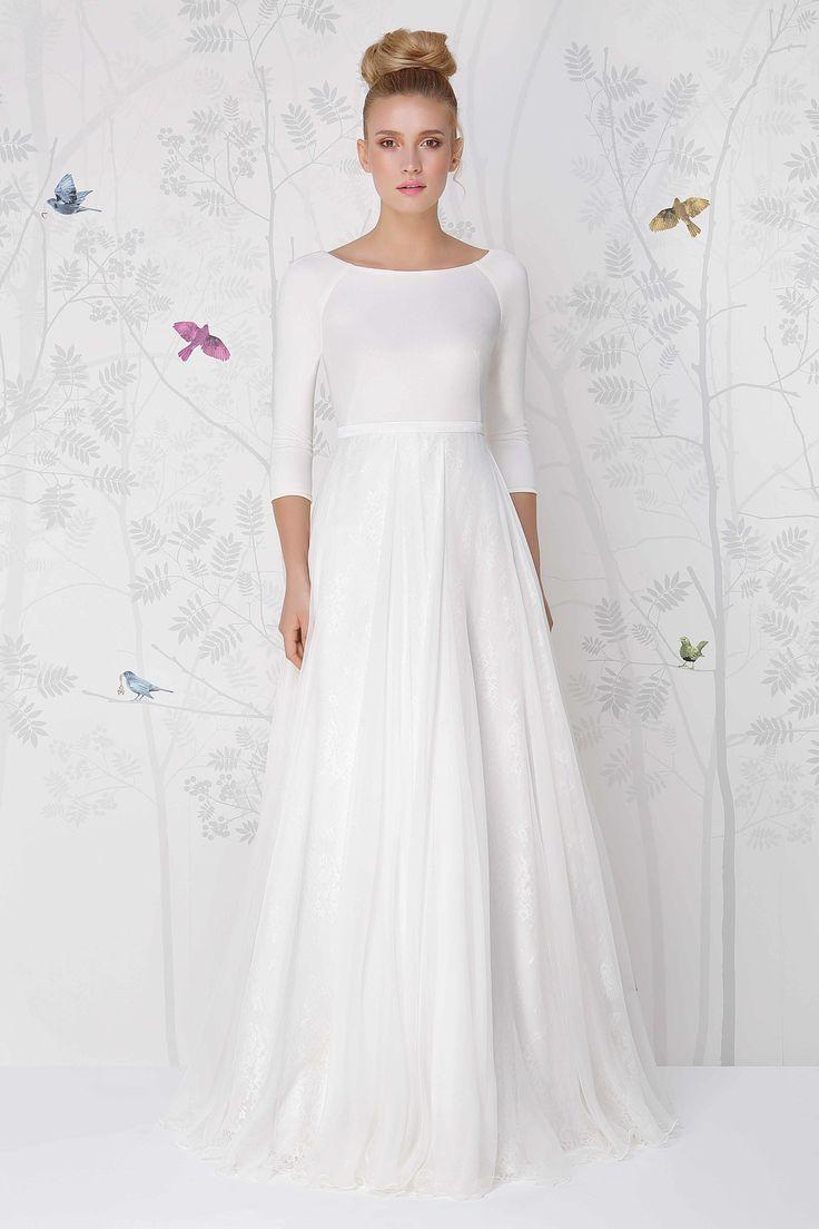 SADONI wedding dress LOLITA with silk jersey top and flowy silk chiffon skirt