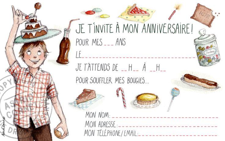 8 cartes d'invitation à un anniversaire de garçon avec enveloppes rouge groseille #fairepart #anniversaire #birthdayparty #bonbons #gateaux #cartedanniversaire