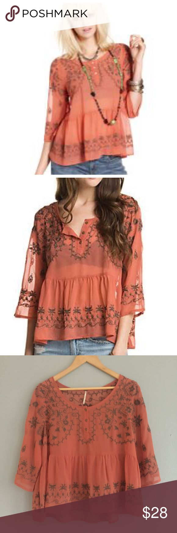 Free People Sequel Pennies top in Canyon Rose Bask in breezy bohemian style with the Free People Pennies top--eclectic embroidery and an airy silhouette are rustic musts. Polyester Machine wash Imported Round neck with partial button placket, three quarter sleeves, pleated Free People Tops