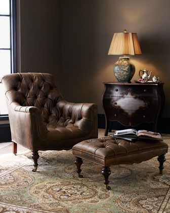 Tufted Leather Chair & Ottoman at Horchow. I could spend a day nestled here with a soft blanket, a good book, and a glass of tea.