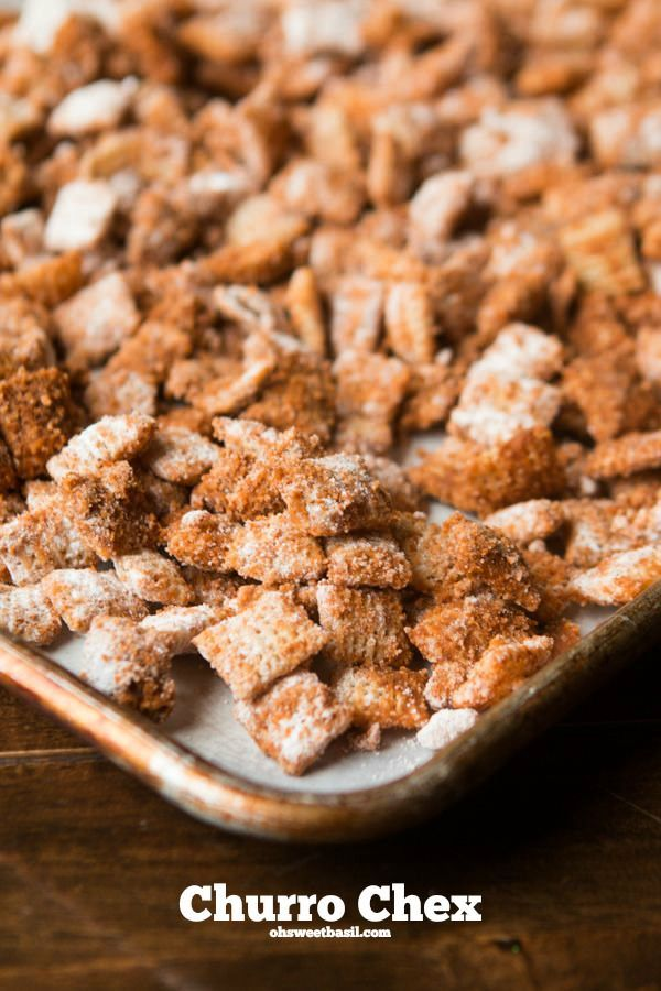 Churro Chex, kind of the best snack ever. ohsweetbasil.com