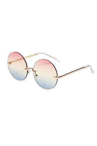473266d33cdb Vemubapis Women Rimless Sunglasses Vintage Stylish Round Circle Flat Lens  Eyewear