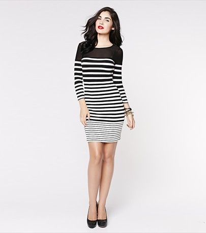 Striped Bodycon Dress with Mesh - $36.90