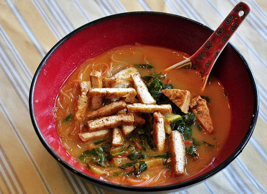 Coconut Curry Soup With Tea-Smoked Tofu And Rice Noodles