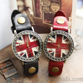 Retro British Flag Watches. Love these.