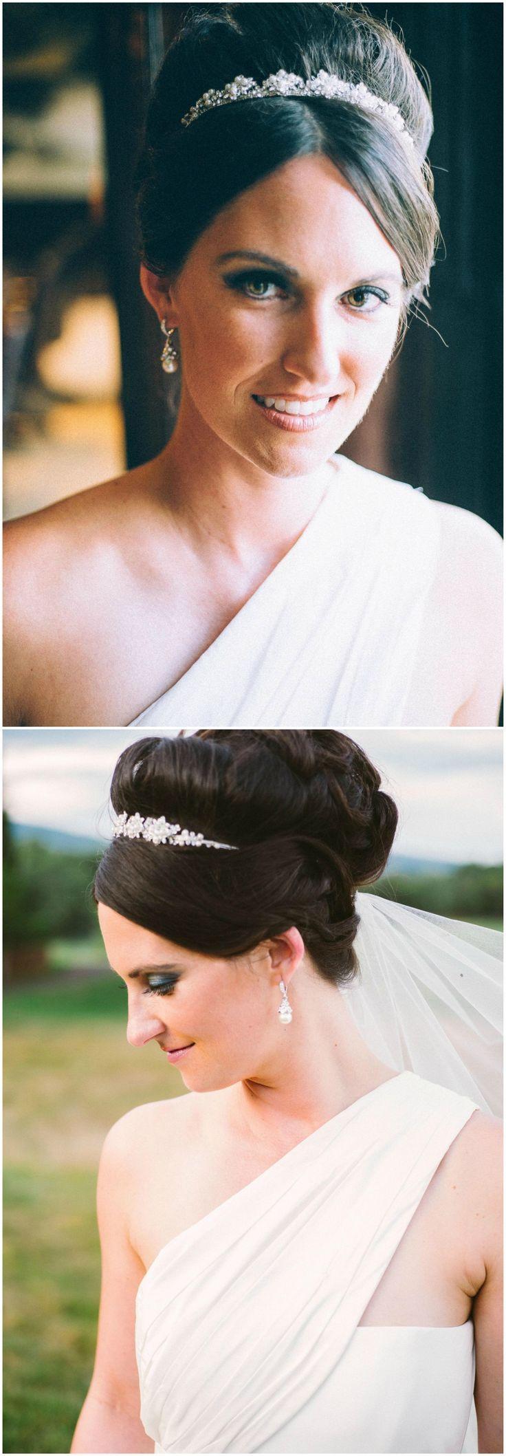 Formal bridal hairstyle, elegant wedding up-do, smoky eye, pearl drop earrings, glam headband // Sam Stroud Photography - New Site