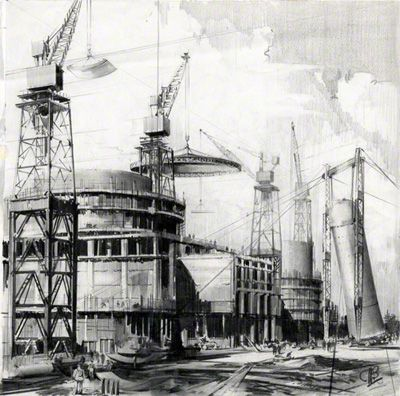 A pencil drawing of Berleley Nuclear Power Station under Construction
