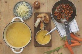 Potet- & gulrotsuppe med stekt gulrot