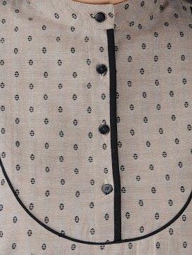 Beige-Black Mandarin Collar Cotton Chambray Dobby Kurta