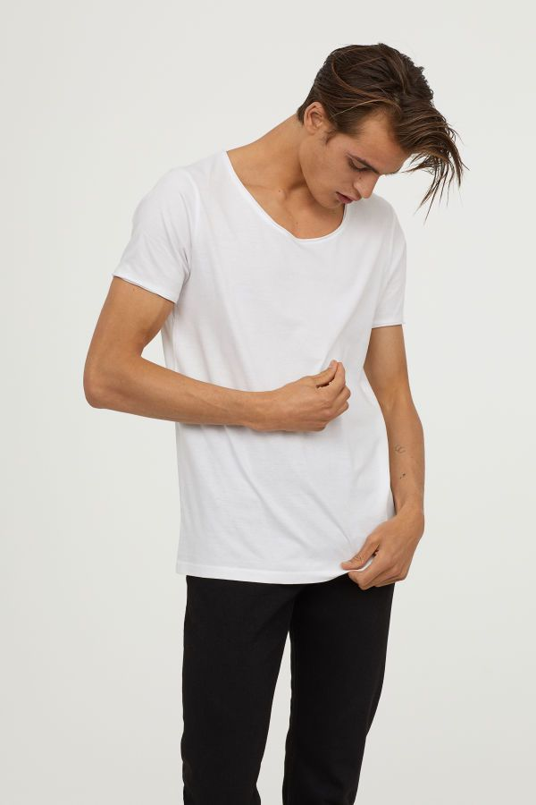 7c5a7c81 T-shirt with Low-cut Neckline | White | MEN | H&M US | style ...
