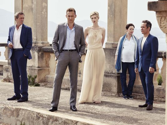 Hugh,Tom and cast The Night Manager AMC