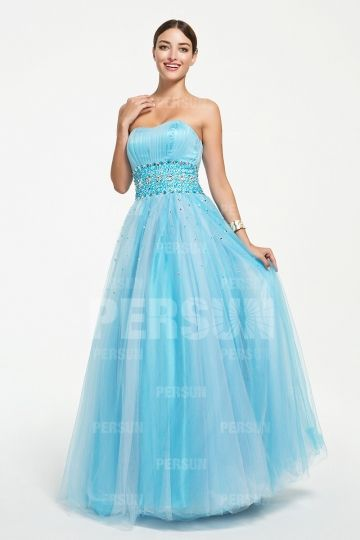 Blue tone Sweet 16 dress with beaded waistline