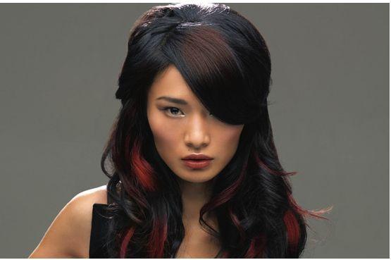 Peekaboo red highlights on black hair