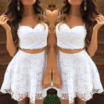 White Homecoming Dresses,Tulle Homecoming Dress,2 Pieces Prom Gown,Two Piece Cocktail Dresses,Lace Sweet 16 Gowns,Evening Gowns