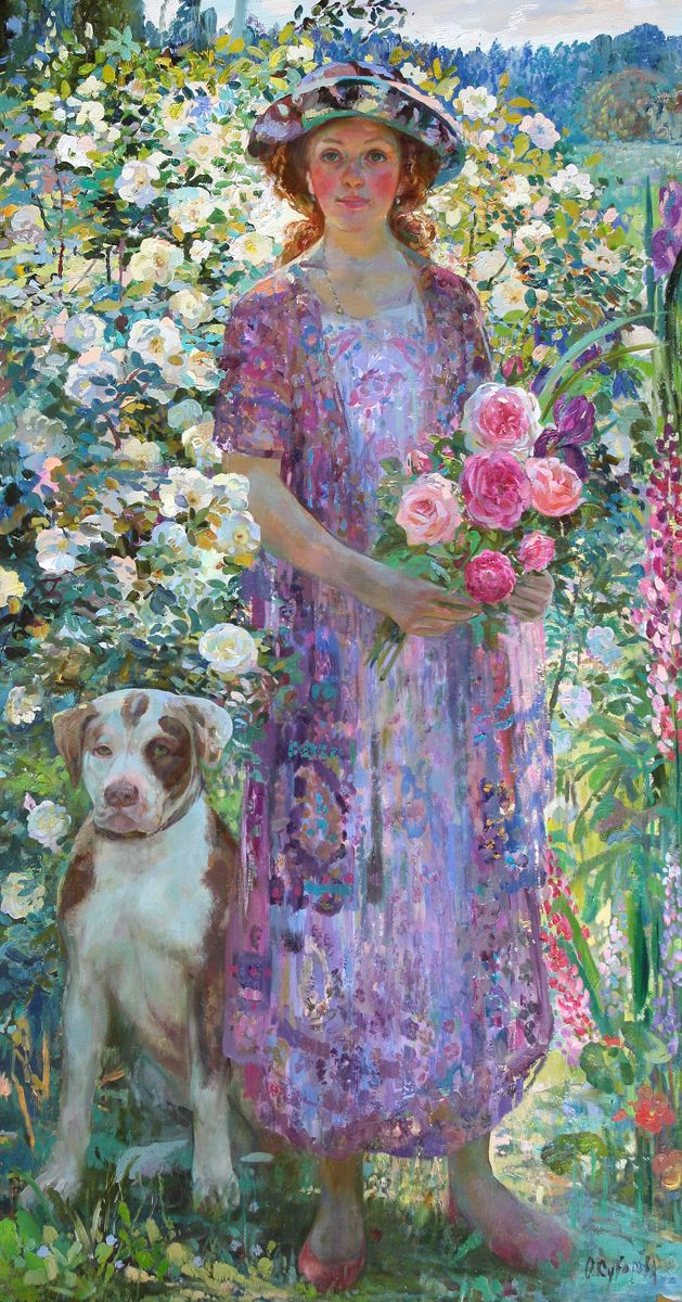 July - oil by ©Olga Suvorova http://academart.com/suvorova.htm. Very different--backlighted figure and too many flowers. LOVE it!