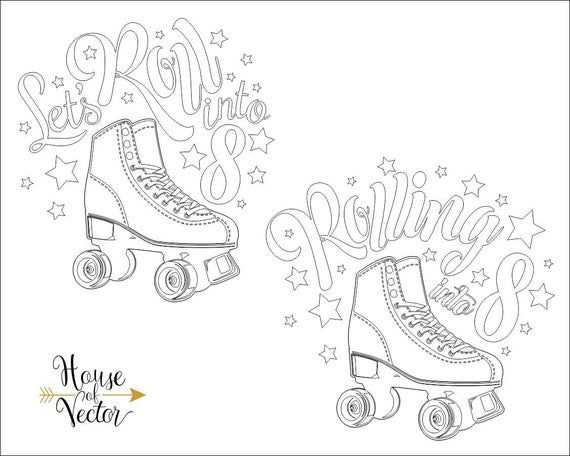 Rolling Into 8 Vector Digital Download File Roller Skates Etsy Birthday Clips Lets Roll Silhouette Clip Art