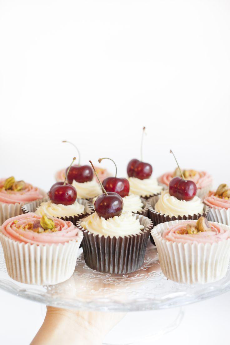 Cupcakes. Cherry & Chocolate and Pistachio & Raspberry  Made by Cake Me! Oslo www.facebook.com/cakemeoslo