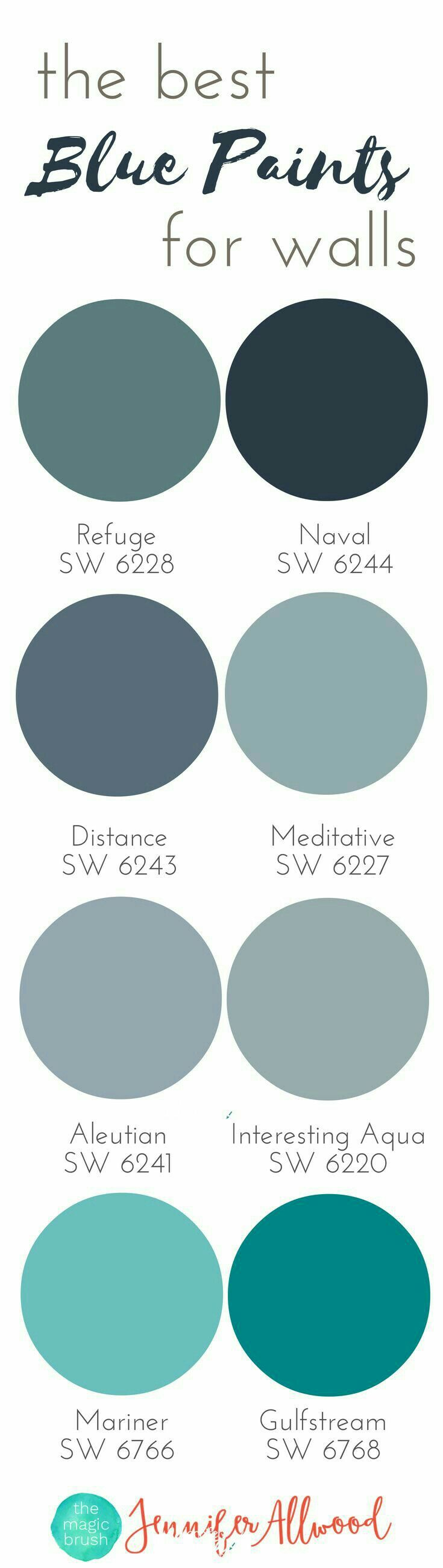 Blue...my favorite decorating color. Distance SW 6243 for base of farmhouse table