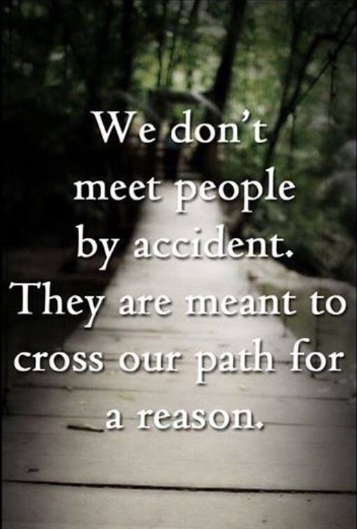 We don't meet people by accident. They are meant to cross ...