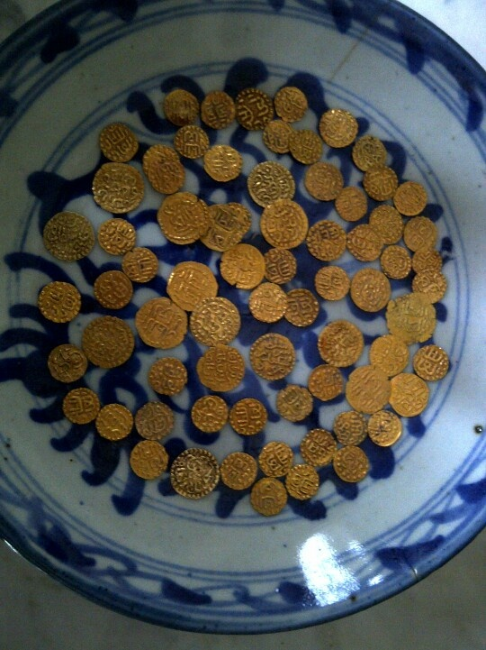 Old gold coins Aceh from Aceh Kingdom Darussalam