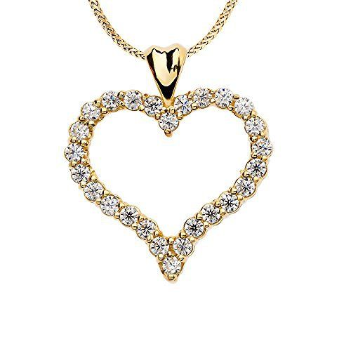 1 Carat Diamond Heart Pendant Necklace in 14k Yellow Gold