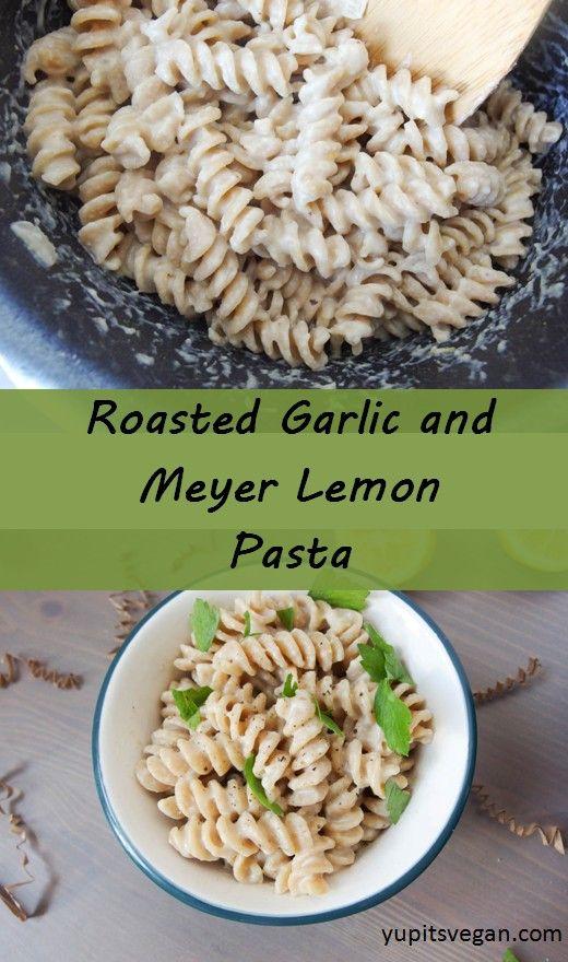 Creamy Roasted Garlic & Lemon Pasta | yupitsvegan.com. Hearty #vegan cashew-based pasta sauce with savory roasted garlic flavor and hints of meyer lemon.