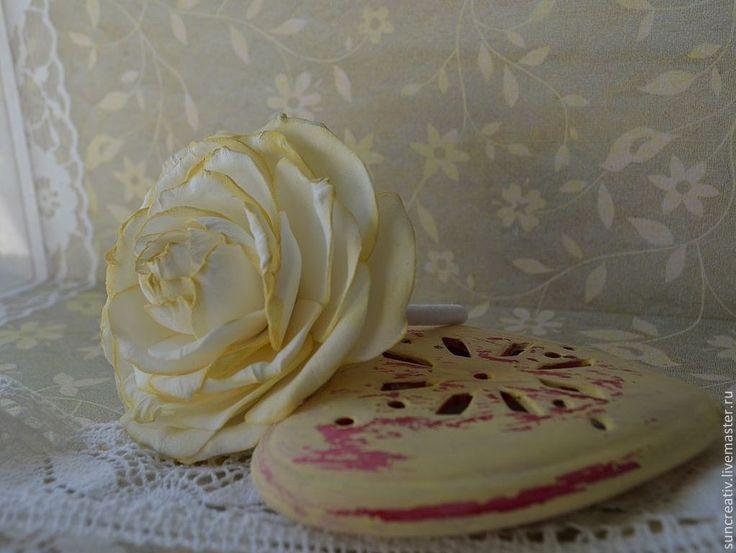 Купить Винтажная роза для волос. - лимонный, Аксессуары для волос, ручная авторская работа, креатив