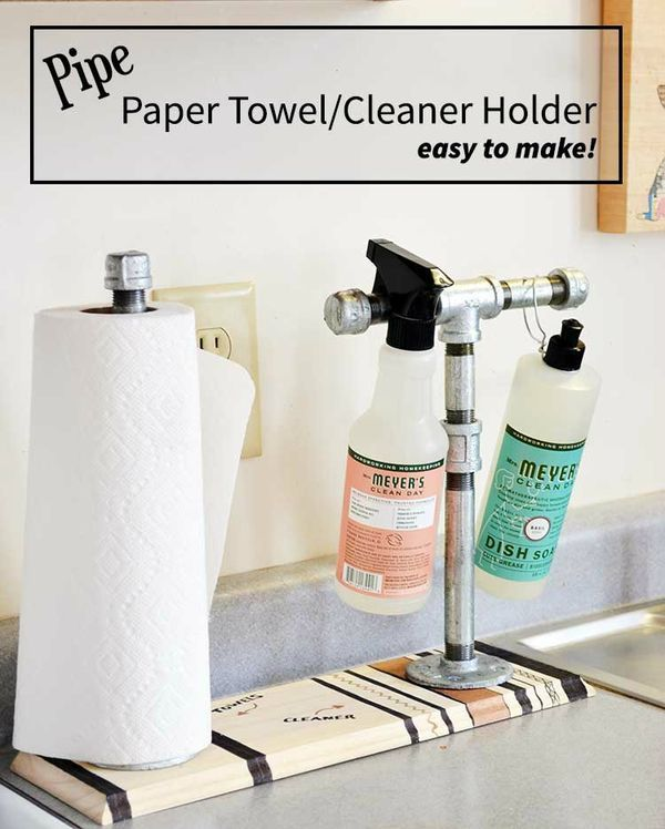 DIY paper towel and DIY cleaner holder made from pipes! A fast and easy project tutorial to organize your kitchen space. Great for farm, minimalist or industrial decor.