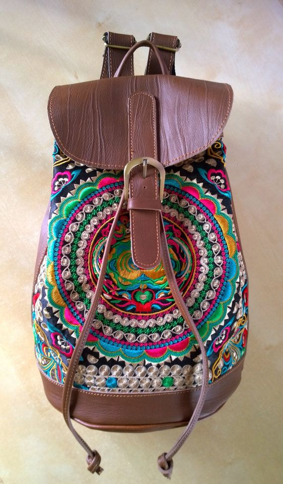 Brown Hmong Boho Leather Embroidery Bag , Ethnic Backpack on Etsy, $128.00
