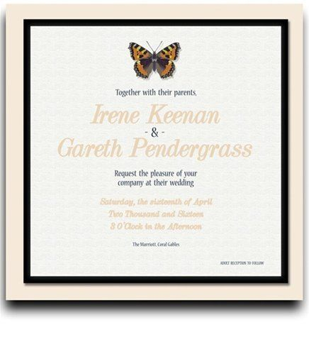 225 Square Wedding Invitations - Butterfly Cream Peach Dream by WeddingPaperMasters.com. $573.75. Now you can have it all! We have created, at incredible prices & outstanding quality, more than 300 gorgeous collections consisting of over 6000 beautiful pieces that are perfectly coordinated together to capture your vision without compromise. No more mixing and matching or having to compromise your look. We can provide you with one piece or an entire collection in a one ...