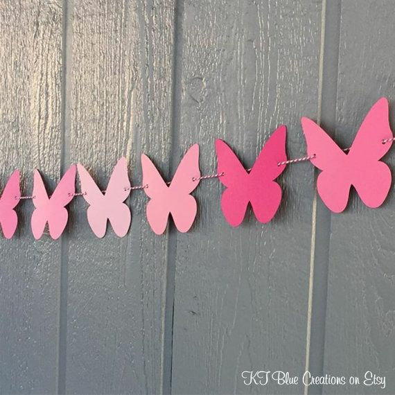 BUTTERFLY+Garland+10+feet++Shades+of+PINK++by+ktbluecreations