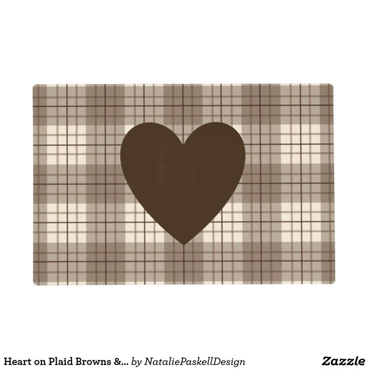 Heart on Plaid Browns & Cream Placemat