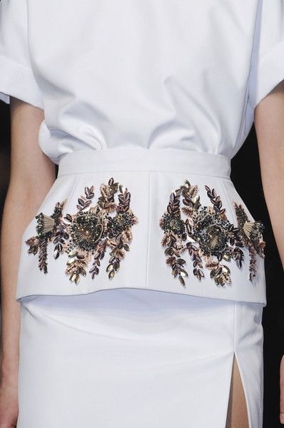 Structured peplum skirt with dimensional floral embroidery; elegant embellished fashion details // No. 21 Fall 2013