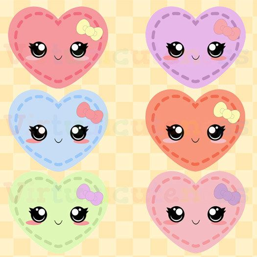 Pastel Kawaii Hearts Clip Art - Cute Clipart, Stitch Hearts, Printable Stickers, Heart Stickers, Chibi, Free Commercial and Personal Use