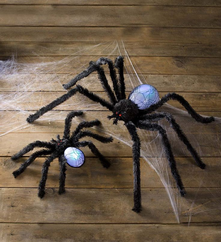 our lighted color changing spider halloween decoration will let you frighten your candy hunters with - Spider Halloween Decorations